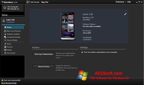 스크린 샷 BlackBerry Link Windows 10