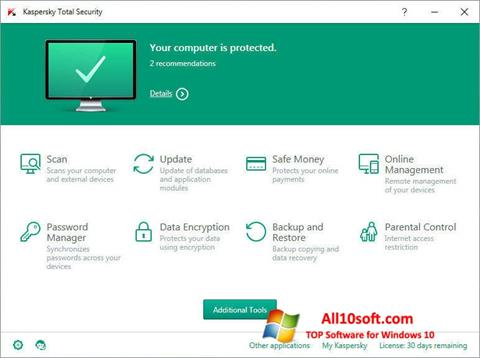 스크린 샷 Kaspersky Total Security Windows 10