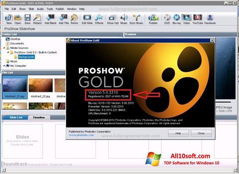 스크린 샷 ProShow Gold Windows 10