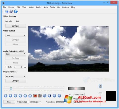 스크린 샷 Avidemux Windows 10
