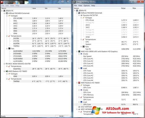 스크린 샷 Open Hardware Monitor Windows 10