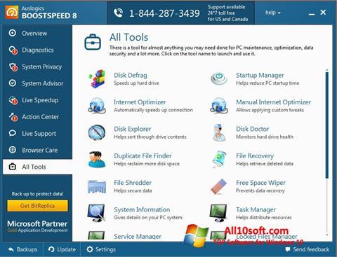 스크린 샷 Auslogics BoostSpeed Windows 10