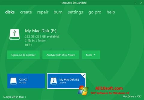 스크린 샷 MacDrive Windows 10