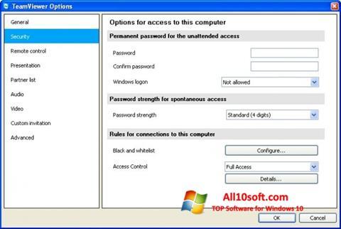 스크린 샷 TeamViewer Windows 10