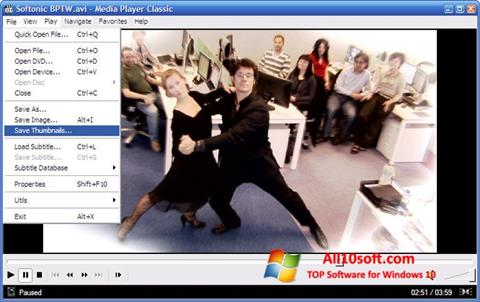 스크린 샷 Media Player Classic Windows 10