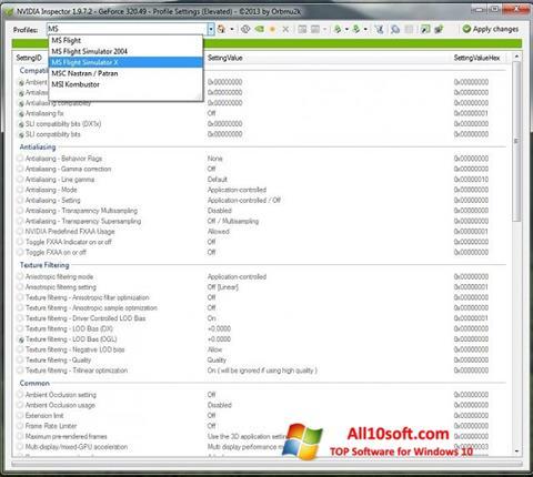 스크린 샷 NVIDIA Inspector Windows 10
