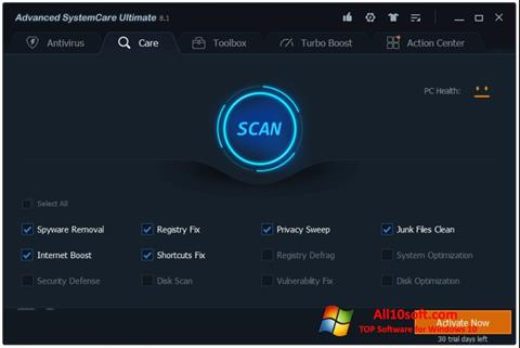 스크린 샷 Advanced SystemCare Windows 10