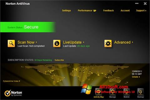 스크린 샷 Norton AntiVirus Windows 10