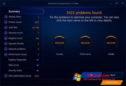 스크린 샷 Advanced SystemCare Free Windows 10
