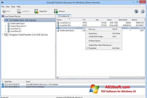 스크린 샷 Active Partition Recovery Windows 10