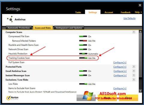 스크린 샷 Norton Windows 10