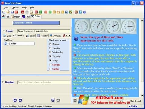 스크린 샷 Auto ShutDown Windows 10
