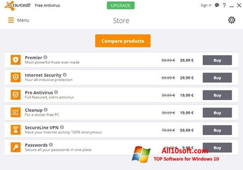스크린 샷 Avast Free Antivirus Windows 10