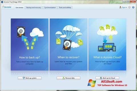 스크린 샷 Acronis True Image Windows 10