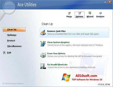 스크린 샷 Ace Utilities Windows 10