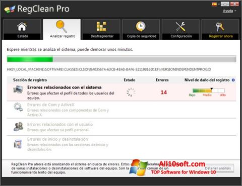 스크린 샷 RegClean Pro Windows 10