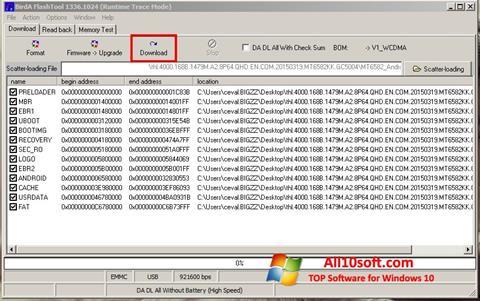 스크린 샷 FlashTool Windows 10
