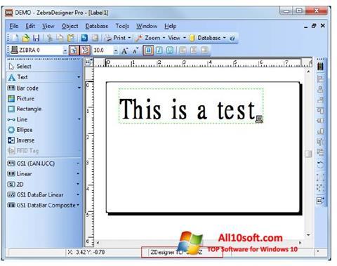 스크린 샷 Zebra Designer Windows 10