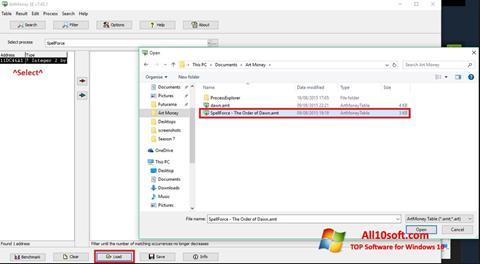 스크린 샷 ArtMoney Windows 10