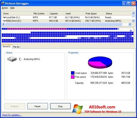 스크린 샷 Defraggler Windows 10