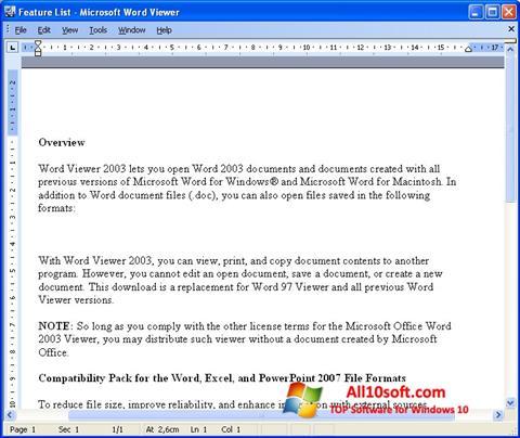 스크린 샷 Word Viewer Windows 10