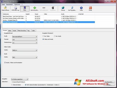 스크린 샷 XMedia Recode Windows 10