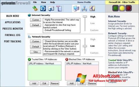 스크린 샷 Privatefirewall Windows 10