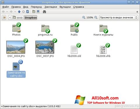 스크린 샷 Dropbox Windows 10