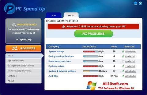 스크린 샷 PC Speed Up Windows 10
