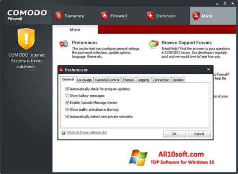 스크린 샷 Comodo Firewall Windows 10