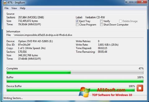 스크린 샷 ImgBurn Windows 10