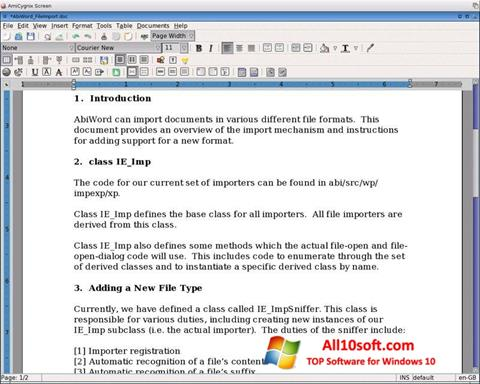 스크린 샷 AbiWord Windows 10