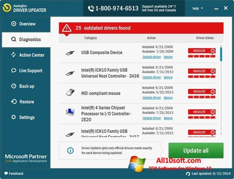 스크린 샷 Auslogics Driver Updater Windows 10