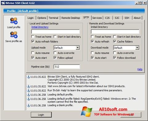 스크린 샷 Bitvise SSH Client Windows 10