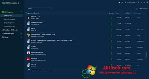스크린 샷 IObit Uninstaller Windows 10