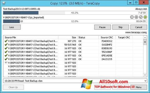 스크린 샷 TeraCopy Windows 10