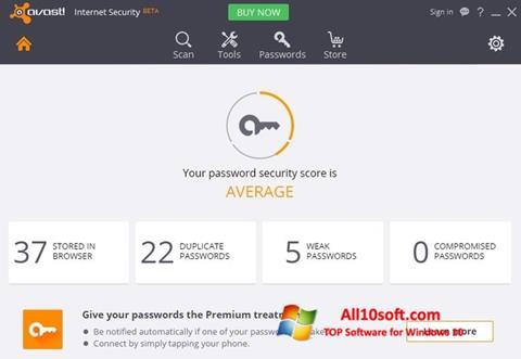 스크린 샷 Avast Internet Security Windows 10
