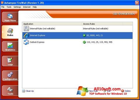 스크린 샷 Ashampoo Firewall Windows 10
