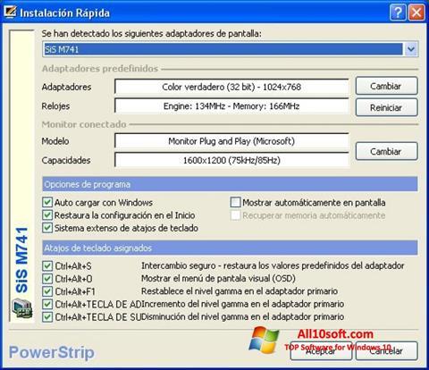 스크린 샷 PowerStrip Windows 10