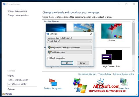 스크린 샷 Personalization Panel Windows 10