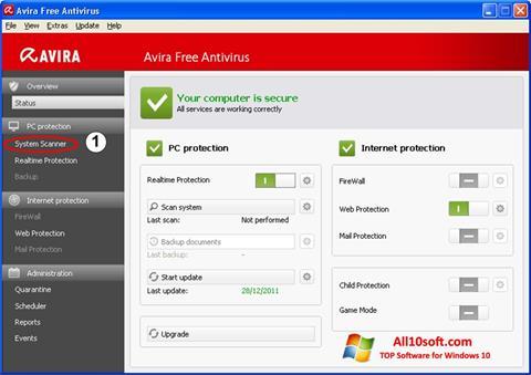 스크린 샷 Avira Windows 10