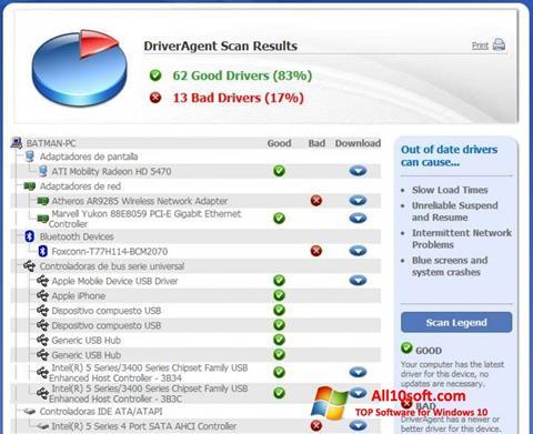 스크린 샷 DriverAgent Windows 10